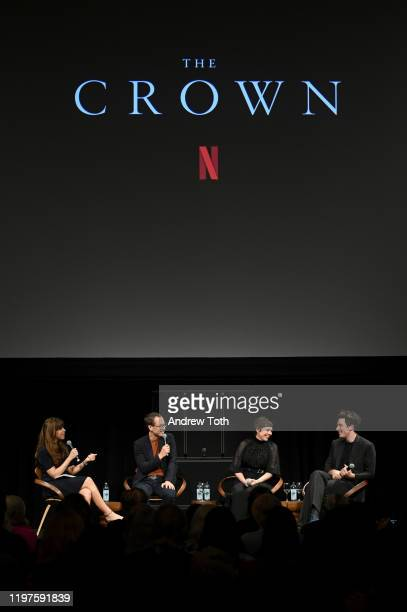 Jessica Radloff Tobias Menzies Olivia Colman and Josh O'Connor speak onstage at The Crown SAG Screening Reception at NeueHouse Los Angeles on January...