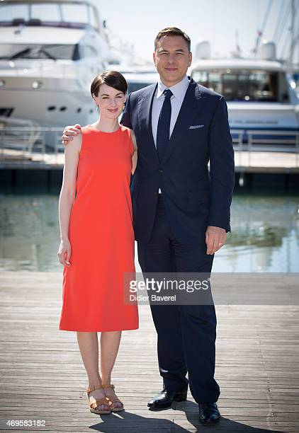 Jessica Raine and David Walliams pose during the 'Partners In Crime' photocall at MIPTV on April 13 2015 in Cannes France