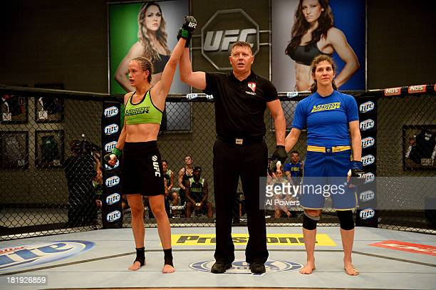 Jessica Rakoczy celebrates after defeating Roxanne Modafferi after their preliminary fight during filming of season eighteen of The Ultimate Fighter...