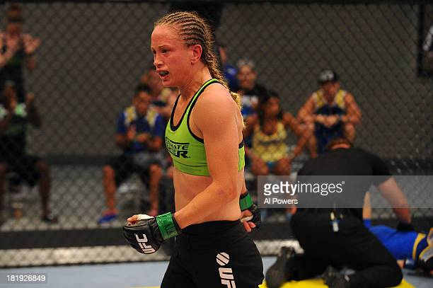 Jessica Rakoczy celebrates after defeating Roxanne Modafferi in their preliminary fight during filming of season eighteen of The Ultimate Fighter on...