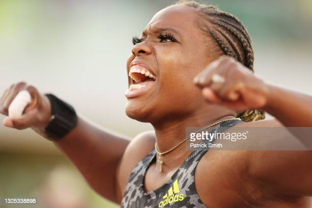 Jessica Ramsey reacts after setting a meet record in the Women's Shot Put Finals on day seven of the 2020 U.S. Olympic Track & Field Team Trials at...