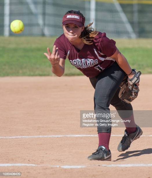 Jessica Roediger of Laguna Beach pitches against Bolsa Grande in a softball game at Thurston Middle School in Laguna Beach ///ADDITIONAL INFORMATION...