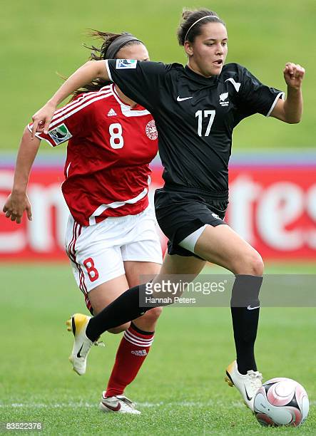 Jessica Rollings of New Zealand attacks forward during the FIFA U17 Women's World Cup match between New Zealand and Denmark at North Harbour Stadium...