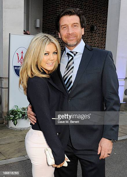 Jessica Rose Moor and Nick Knowles attend a VIP dinner hosted by Maserati to unveil the new 'Quattroporte' at The Hurlingham Club on April 17 2013 in...