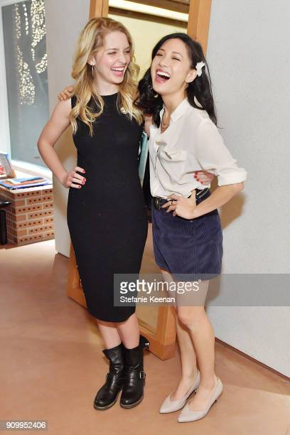 Jessica Rothe and Constance Wu attend Conde Nast The Women March's Cocktail Party to Celebrate the One Year Anniversary of the March the Publication...