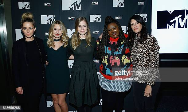 Jessica Rothe Eliza Bennet Taylor Dearden Nicole Byer and Scout Durwood attend The Struggle Is Real Gender Race Entrepreneurship and the Women of MTV...