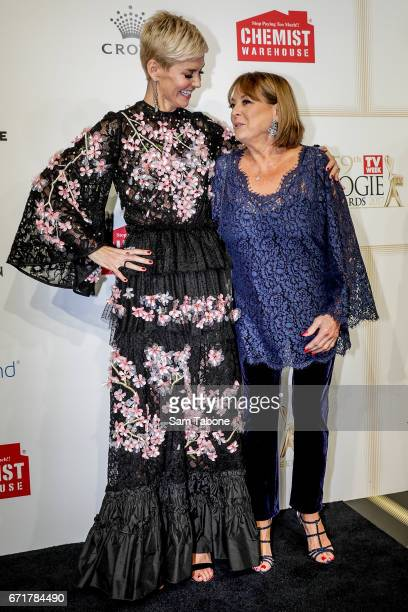 Jessica Rowe and Denise Drysdale arrives at the 59th Annual Logie Awards at Crown Palladium on April 23 2017 in Melbourne Australia