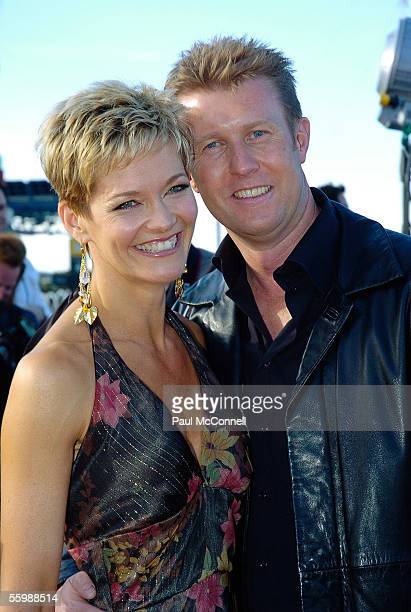 Jessica Rowe and Peter Overton arrive at the 19th Annual ARIA Awards at the Sydney SuperDome October 23 2005 in Sydney Australia The ARIA Awards...