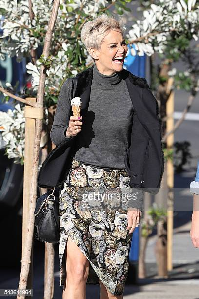 Jessica Rowe enjoys an icecream in Bondi with a friend on June 23 2016 in Sydney Australia