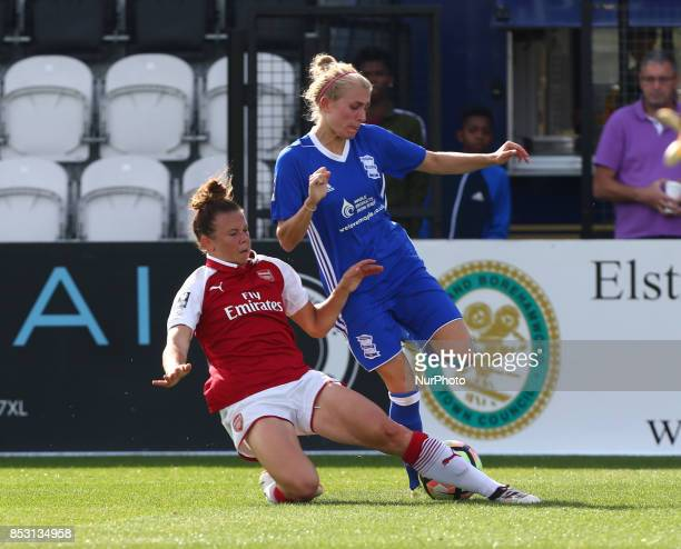 Jessica Samuelsson of Arsenal Women tackles Emma Follis of Birmingham City LFCduring Women's Super League 1 match between Arsenal Women FC against...