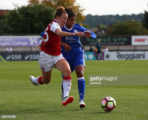 Jessica Samuelsson of Arsenal Women takes Jessica Carter of Birmingham City LFC during Women's Super League 1 match between Arsenal Women against...