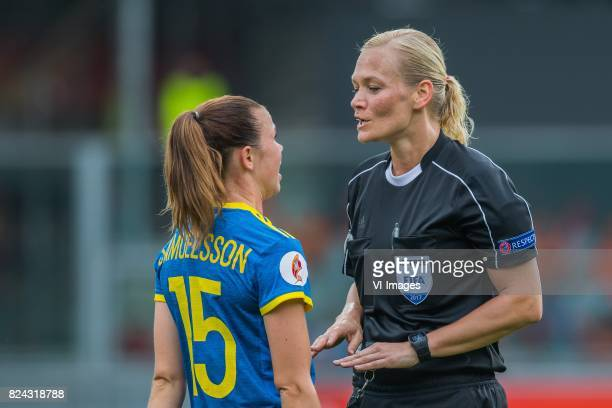 Jessica Samuelsson of Sweden women referee Bibiana Steinhaus during the UEFA WEURO 2017 quarter finale match between The Netherlands and Sweden at...