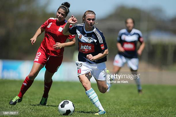 Jessica Samuelsson of the Victory runs with the ball during the round two WLeague match between Adelaide and Melbourne at Burton Park on November 16...