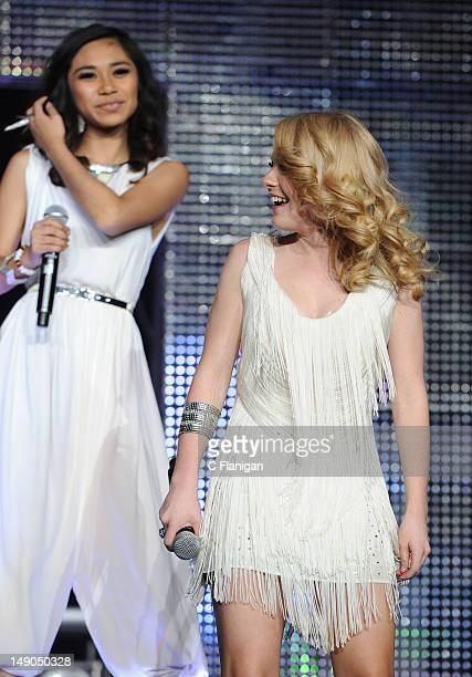 Jessica Sanchez and Hollie Cavanagh perform as part of the American Idols Live Tour presented by Chips Ahoy and Ritz at Power Balance Pavilion on...