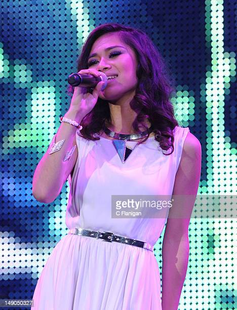 Jessica Sanchez performs during the American Idol Live Summer Tour presented by Chips Ahoy and Ritz at Power Balance Pavilion on July 21 2012 in...