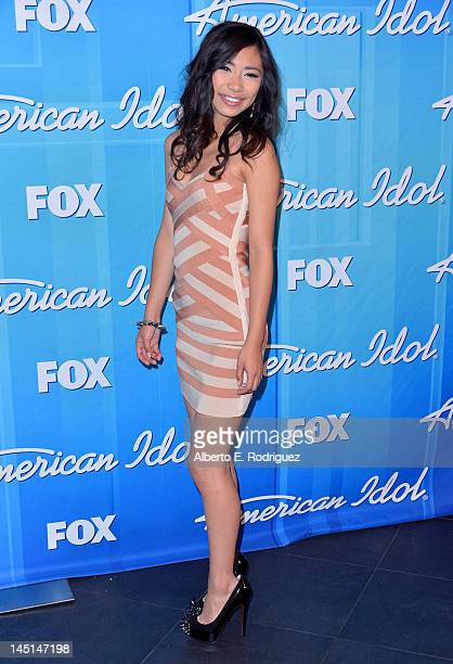 Jessica Sanchez poses in the press room during Fox's American Idol 2012 Finale Results Show at Nokia Theatre LA Live on May 23 2012 in Los Angeles...