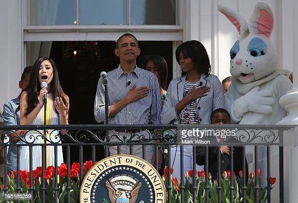 Jessica Sanchez sings while President Barack Obama first lady Michelle Obama Robby Novak and the Easter Bunny stand nearby during the annual Easter...