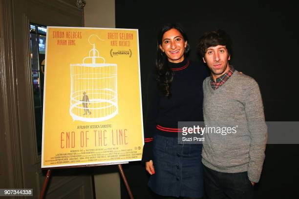 Jessica Sanders and Simon Helberg pose for a photo at the Refinery29 and TNT Shatterbox Anthology Season 2 Sundance Premiere Party at Firewood on...