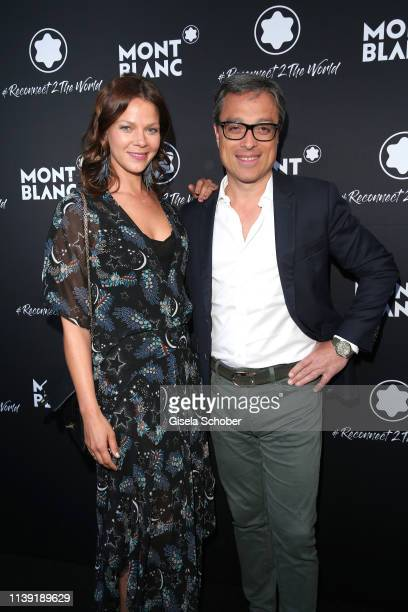 """Jessica Schwarz and CEO Montblanc Nicolas Baretzki attend the """"To Berlin and Beyond with Montblanc: Reconnect To The World"""" launch event at Metropol..."""