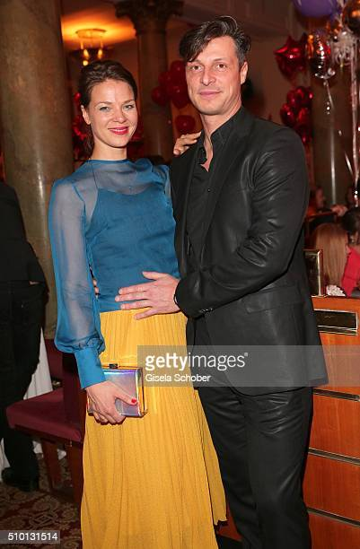 Jessica Schwarz and her partner Markus Selikovsky during the Bild 'Place to B' Party at Borchardt during the 66th Berlinale International Film...