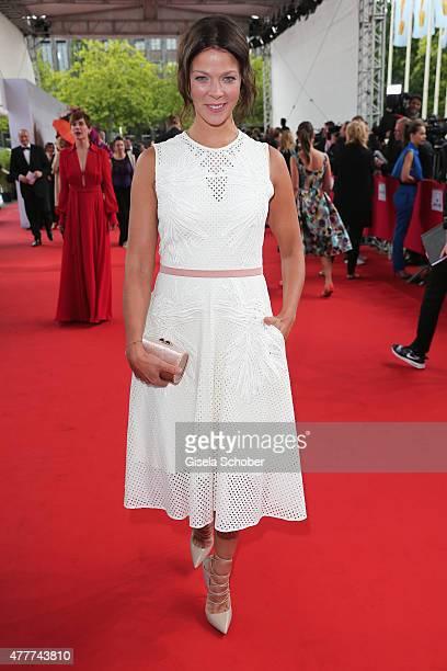 Jessica Schwarz arrives for the German Film Award 2015 Lola at Messe Berlin on June 19, 2015 in Berlin, Germany.