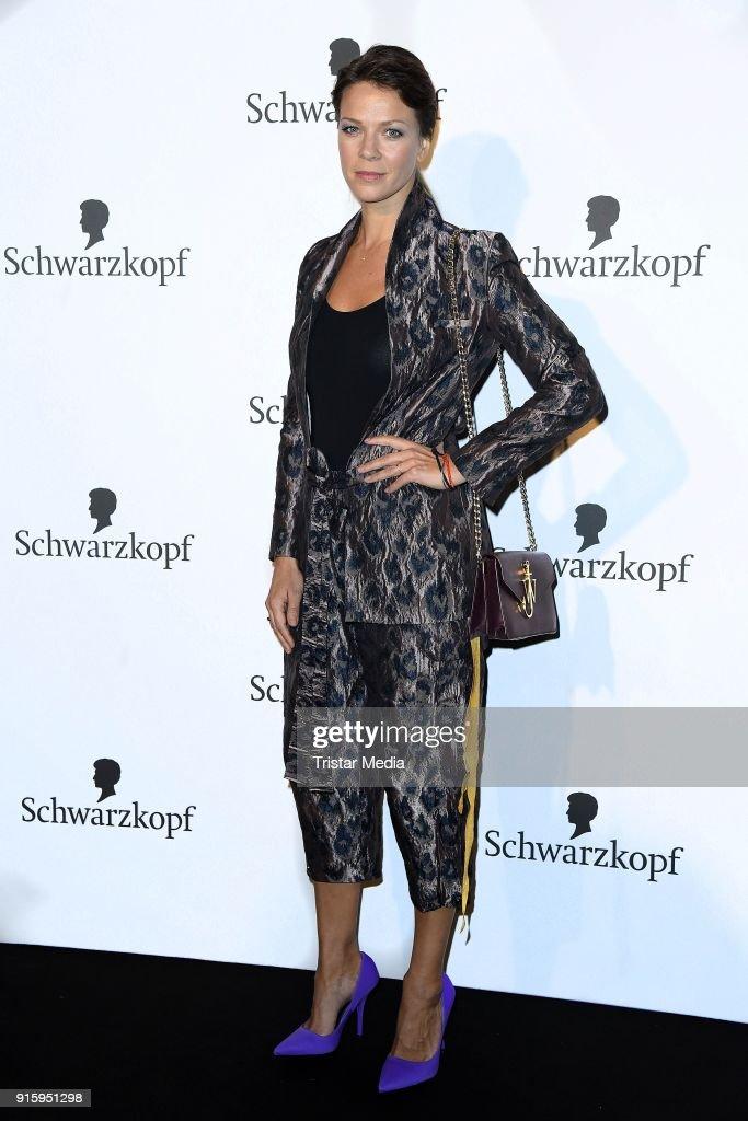 Jessica Schwarz attends the 120th anniversary celebration of Schwarzkopf at U3 subway tunnel Potsdamer Platz on February 8, 2018 in Berlin, Germany.