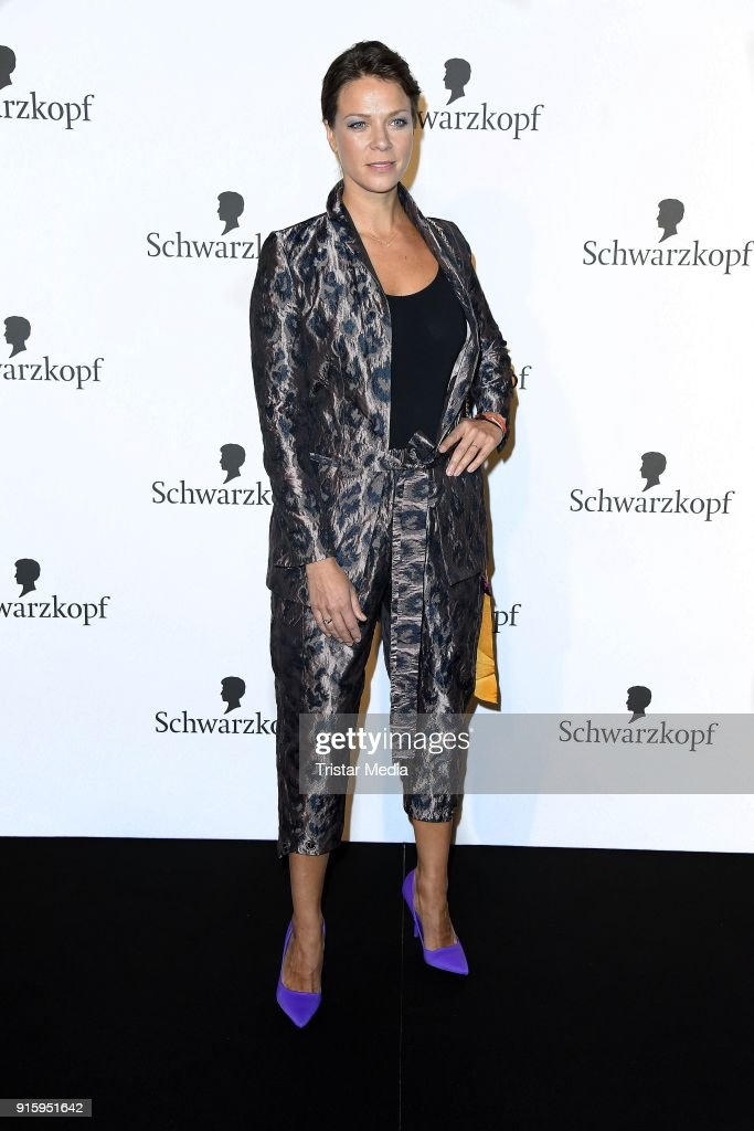 Jessica Schwarz attends the 120th anniversary celebration of Schwarzkopf at U3 subway tunnel Potsdamer Platz on February 8, 2018 in Berlin, Germany.