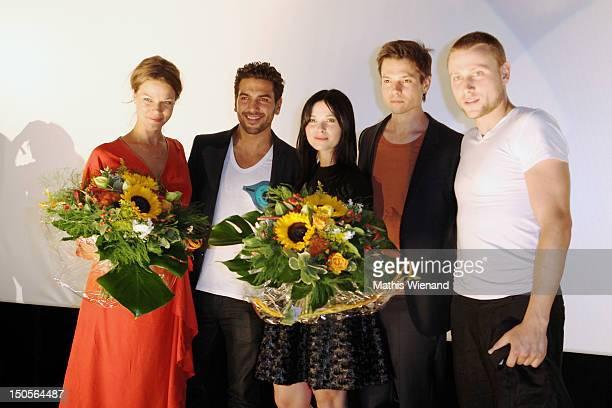 Jessica Schwarz Elyas M'Barek Anna Fischer Marco Pretry Max Riemelt attend the 'Heiter Bis Wolkig' Germany Premiere at Cinedome on MediaPark on...