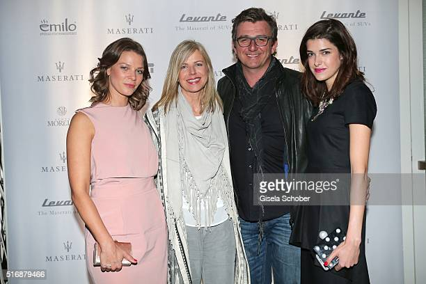 Jessica Schwarz Hans Sigl and his wife Susanne Sigl and Marie Nasemann during the Maserati 'Levante' Launch event on March 21 2016 in Frankfurt am...