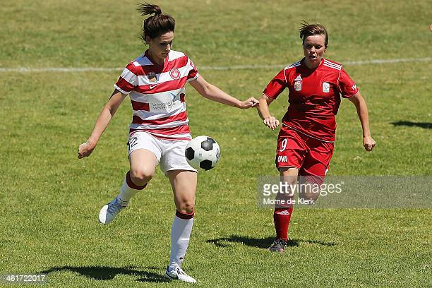 Jessica Seaman of the Wanderers wins the ball in front of LisaMarie Woods of Adelaide during the round 8 WLeague match between Adelaide United and...