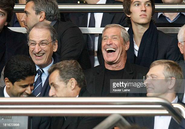 Jessica SebaounDarty and husband Jean Sarkozy attend the French League 1 between Paris SaintGermain FC and AS Monaco FC at Parc des Princes on...