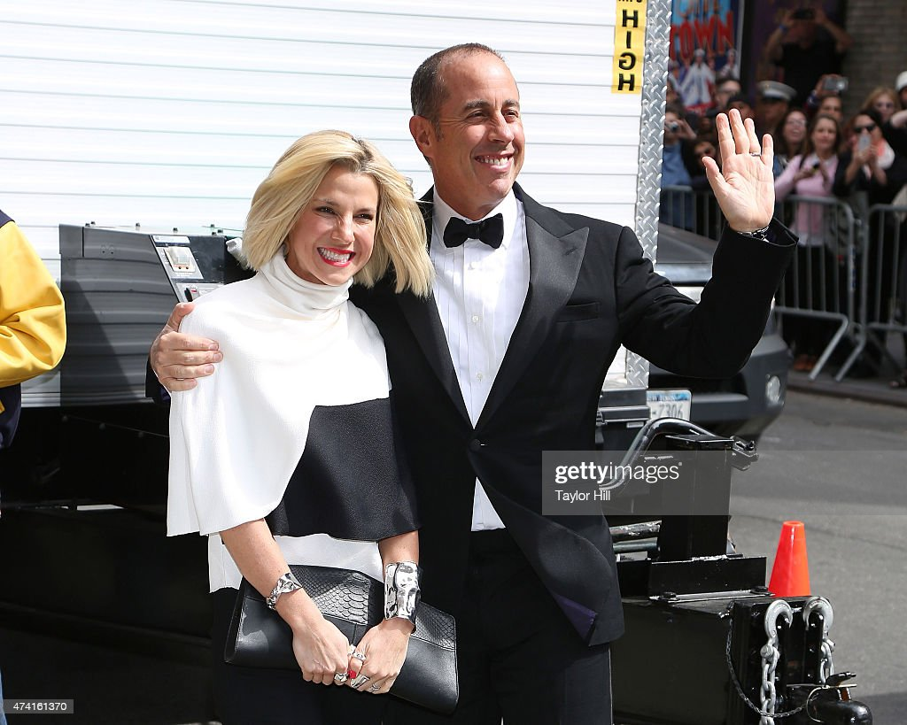 Jessica Seinfeld and Jerry Seinfeld arrive at 'Late Show with David Letterman' at Ed Sullivan Theater on May 20, 2015 in New York City.