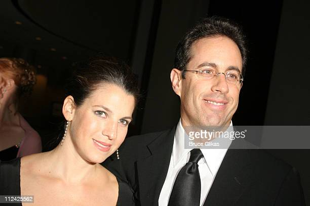 """Jessica Seinfeld and Jerry Seinfeld during Neil Simon's """"The Odd Couple"""" Broadway Opening Night at The Marriott Marquis Ballroom in New York City,..."""
