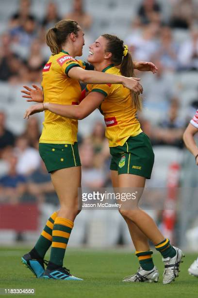 Jessica Sergis of Australia celebrates scoring a try during the International Rugby League match between the Australian Jillaroos and the New Zealand...