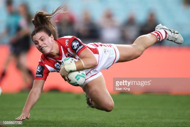 Jessica Sergis of the Dragons is tackled during the Women's NRL match between the St George Illawarra Dragons and the New Zealand Warriors at ANZ...