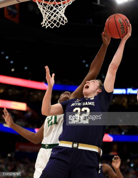 Jessica Shepard of the Notre Dame Fighting Irish attempts a shot against Kalani Brown of the Baylor Lady Bears during the first quarter in the...