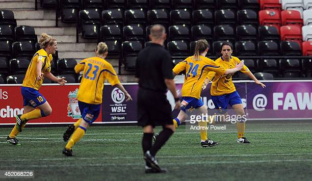 Jessica Sigsworth of Doncaster Rovers Belles celebrates after scoring a header during the FA WSL Continental Cup match between Liverpool Ladies and...