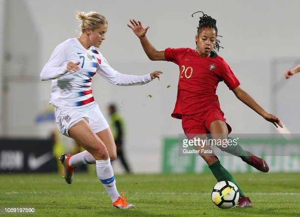 Jessica Silva of Portugal and Abby Dahlkemper of United States in action during the International Friendly match between Portugal and United States...