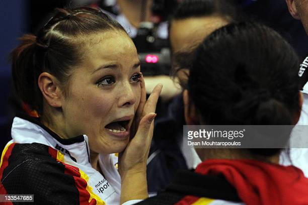 Jessica Simon and Anna Dogonadze of Germany celebrate winning gold in the Synchronized Trampoline Womens Final during the 28th Trampoline and...