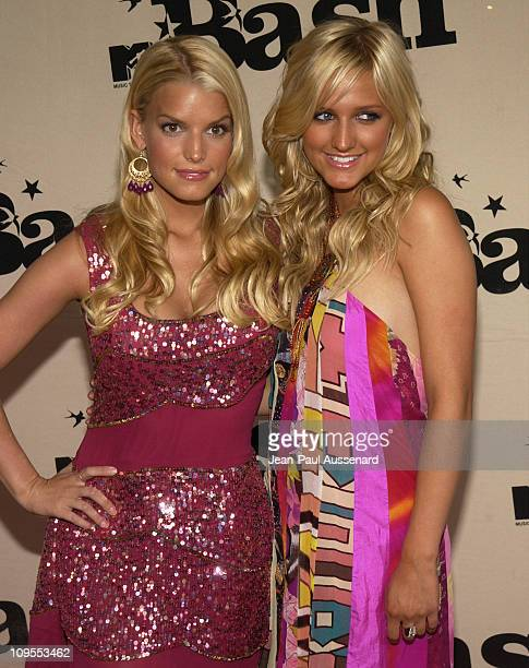 Jessica Simpson and Ashlee Simpson during MTV Bash Arrivals in Hollywood United States
