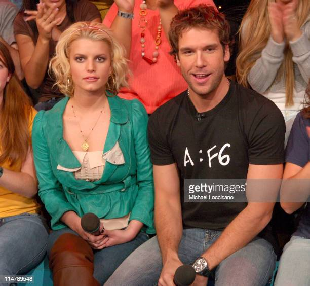 Jessica Simpson and Dane Cook during Jessica Simpson and Dane Cook Visit MTV's 'TRL' October 4 2006 at MTV Studios in New York City New York United...