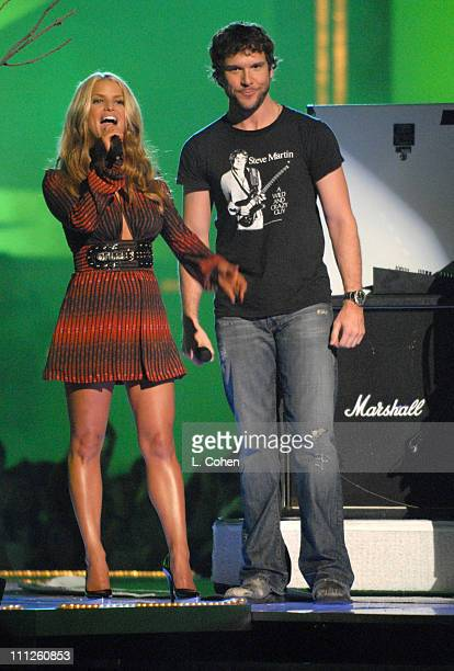 Jessica Simpson and Dane Cook introduce AFI during 2006 MTV Movie Awards Show at Sony Pictures in Culver City California United States