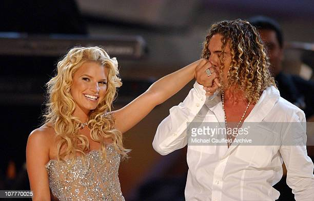 Jessica Simpson and David Bisbal perform 'Angels' during The 5th Annual Latin GRAMMY Awards Show at Shrine Auditorium in Los Angeles California...