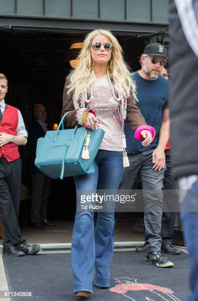 Jessica Simpson and Eric Johnson are seen leaving Bowery Hotel on April 21 2017 in New York City