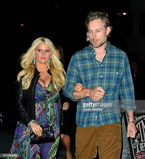 Jessica Simpson and Eric Johnson arrive to TINY's restaurant on September 10 2012 in New York City
