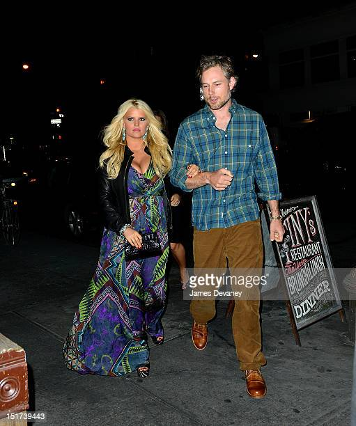 Jessica Simpson and Eric Johnson arrive to TINY's restaurant on September 10, 2012 in New York City.