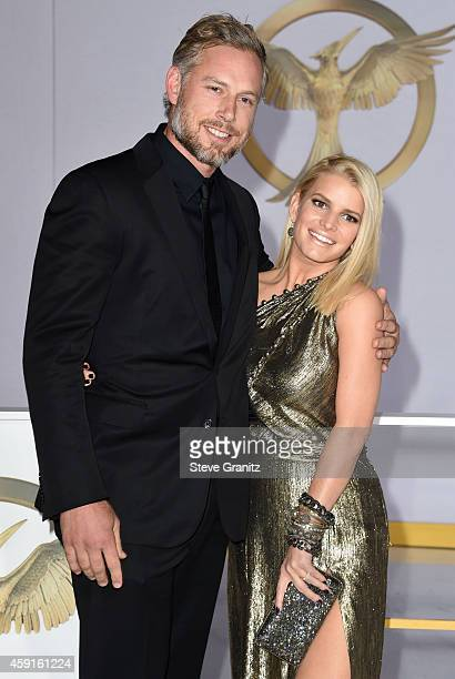 Jessica Simpson and Eric Johnson arrives at the The Hunger Games Mockingjay Part 1 Los Angeles Premiere at Nokia Theatre LA Live on November 17 2014...