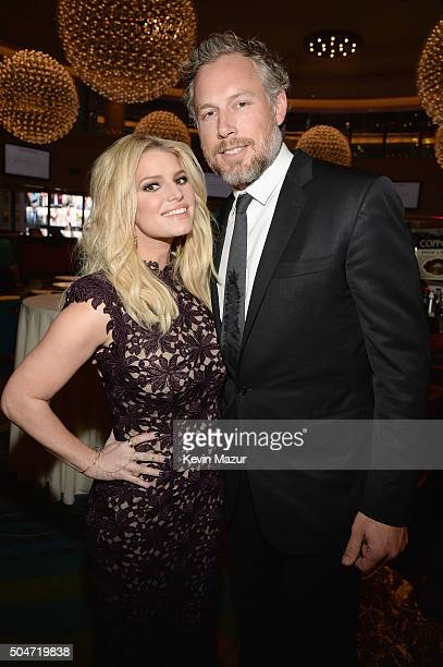 Jessica Simpson and Eric Johnson attend the 2016 YMA Fashion Scholarship Fund Geoffrey Beene National Scholarship Awards Dinner at Marriott Marquis...