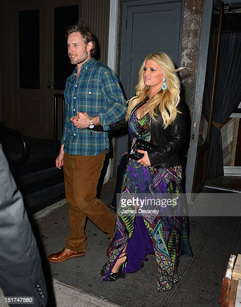 Jessica Simpson and Eric Johnson leave TINY's restaurant on September 10 2012 in New York City