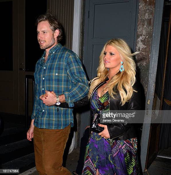 Jessica Simpson and Eric Johnson leave TINY's restaurant on September 10, 2012 in New York City.